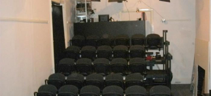 Bakehouse studio theatre seating showing lighting rig